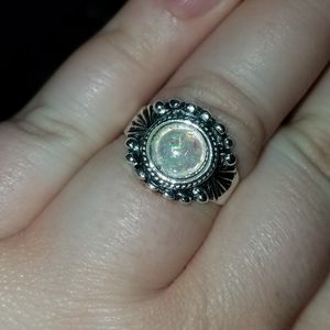 Size 6/7 silver opal ring